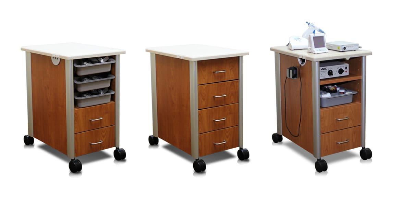 three dental cart models on white background