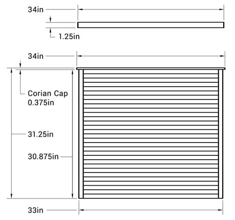 Slat Wall - M3C1 - Dimensions